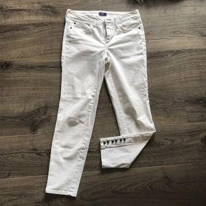 NYDJ White Skinny Ankle button hem jeans 2
